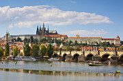 St Charles Bridge Posters - St Vitus Cathedral & The Charles Bridge, Prague Poster by Douglas Pearson