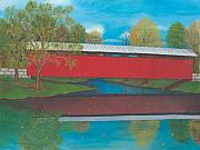 Covered Bridge Painting Metal Prints - Staats Mill Covered Bridge Metal Print by TJ Word