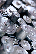 Electronic Photo Posters - Stack Of Batteries Poster by Carlos Caetano