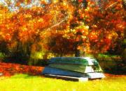 Autumn Photographs Photos - Stack of Boats by Kathy Jennings