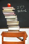 Blackboard Photos - Stack of books on an old school desk  by Sandra Cunningham