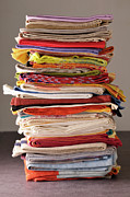 Colored Background Art - Stack Of Dish Cloths by Jean-Christophe Riou