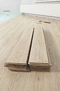 Flooring Prints - Stack Of Laminate Flooring Planks. Wood Print by Magomed Magomedagaev
