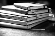 Black And White Prints - Stack Of Notebooks Print by FOTOGRAFIE melaniejoos