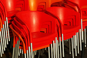 Stored Metal Prints - Stacked Chairs Metal Print by Carlos Caetano
