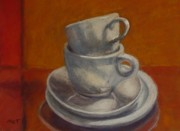 Reds Pastels Prints - Stacked Cups Print by Dolores Holt