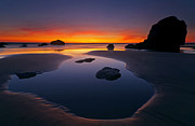 Low Tide Prints - Stacks and Stones Print by Mike  Dawson