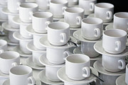 Balance In Life Metal Prints - Stacks Of Cups And Saucers Metal Print by Tobias Titz
