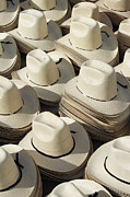 Western Wear Framed Prints - Stacks of Straw Hats Framed Print by Jeremy Woodhouse