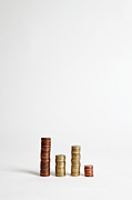 Balance In Life Posters - Stacks Of Various European Union Coins Poster by Halfdark