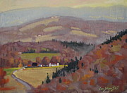 Colors Of Autumn Originals - Stafford Hill From The Glen 2 by Len Stomski