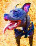 Terrier Digital Art Posters - Staffordshire Bull Terrier in Oil Poster by Michael Tompsett