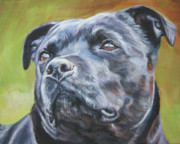 Staffordshire Bull Terrier Paintings - Staffordshire Bull Terrier by Lee Ann Shepard