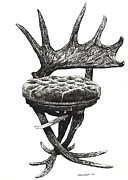 Lee-ann Drawings - Stag antlers chair by Lee-Ann Adendorff