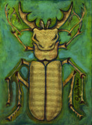 Polish American Painters Paintings - Stag Beetle by Anna Folkartanna Maciejewska-Dyba