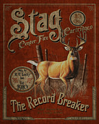 Hunting Framed Prints - Stag Record Breaker Sign Framed Print by JQ Licensing