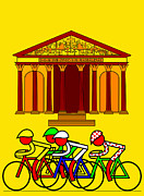 France La Madeleine Metal Prints - Stage 21  They pass by Leglise de la Madeleine Metal Print by Asbjorn Lonvig