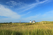 Chatham Posters - Stage Harbor Lighthouse Beach Grasses Cape Cod Chatham Poster by John Burk