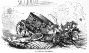 Porte Crayon Framed Prints - Stagecoach Accident, 1856 Framed Print by Granger