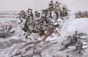 Stagecoach Attacked Historical Vignette Print by Dawn Senior-Trask