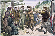 Leadville Framed Prints - STAGECOACH ROBBERY, 1880s Framed Print by Granger
