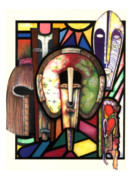 African-american Drawings Framed Prints - Stain Glass Framed Print by Anthony Burks