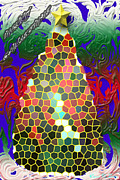 Stain Glass Christmas Posters - stain Glass Christmas Tree Poster by Donna Brown
