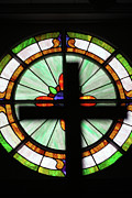 Stain Glass Framed Prints - Stained Cross Framed Print by Joy Tudor