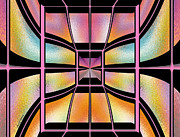 Peach Prints - Stained Glass 7 Print by Cheryl Young