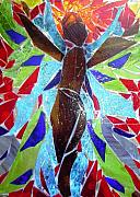 Texture Glass Art Prints - Stained Glass Angel Print by Laura  Grisham