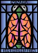 Cicada Posters - Stained Glass Cicada Poster by LD Gonzalez