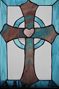 Stained Glass Art Metal Prints - Stained glass cross Metal Print by Ralph Hecht