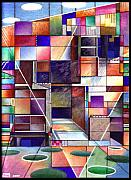 Stained Mixed Media Metal Prints - Stained Glass Factory Metal Print by Jane Bucci