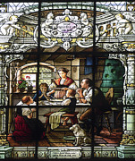 St Elizabeth Prints - Stained Glass Family Giving Thanks Print by Sally Weigand