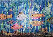 Mosaic Art Mixed Media Posters - Stained Glass Fish Poster by Arline Wagner