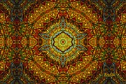 Stained Glass Gas Ring Mandala Print by Richard H Jones
