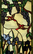 Fine American Art Glass Art Framed Prints - Stained Glass Humming Bird Vertical Window Framed Print by Thomas Woolworth