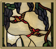 Horizontal Glass Art Prints - Stained Glass Humming Bird Window Print by Thomas Woolworth