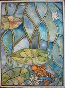 Lilly Pond Paintings - Stained glass Koi by Lee Stockwell