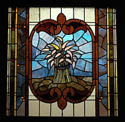 Fine American Art Glass Art Framed Prints - Stained Glass LC 20 Framed Print by Thomas Woolworth
