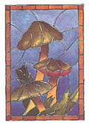 Toadstools Framed Prints - Stained Glass Mushrooms Framed Print by Terry Taylor