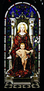 Christian Framed Prints - Stained Glass of Virgin Mary Framed Print by Adam Romanowicz