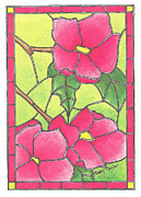Plant Greeting Cards Prints - Stained Glass Peonies Print by Terry Taylor