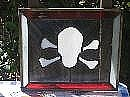 Panel Glass Art Originals - Stained Glass Skull Crossbones Panel by Cynthia Adams