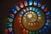 James Kirkikis Prints - Stained Glass Spiral Print by James Kirkikis