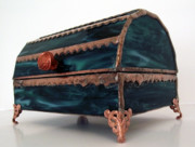 Jewelry Glass Art Originals - Stained Glass Treasure Chest Jewelry Box by Arlene  Wright-Correll