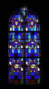 Silhouettes Glass Art Metal Prints - Stained Glass Window Blue Metal Print by Thomas Woolworth