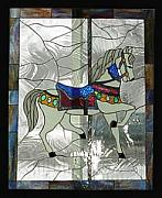 Antique Glass Art - Stained Glass Window Carousel Horse No. 1 Original by Phil And Brenda Petersen