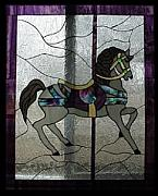 Antique Glass Art - Stained Glass Window Carousel Horse No. 2 Original by Phil and Brenda Petersen