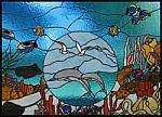 Tropical Stain Glass Glass Art - Stained Glass Window Enchantment Under The Sea Original by Phil And Brenda Petersen